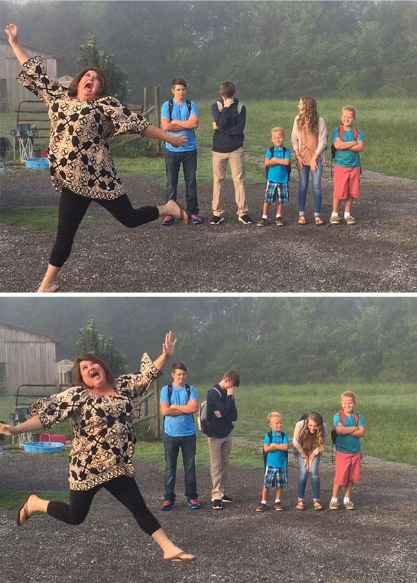 太誇張!小孩開學第一天,這媽居然高興得飛起來!?飛完左邊還換右邊