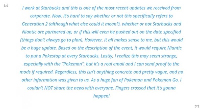 這次是真的了!!星巴克同職場工人公開向大家表達Niantic寄給星巴克的email,Pokemon Go第二代寶可夢上市日期確定了!!!