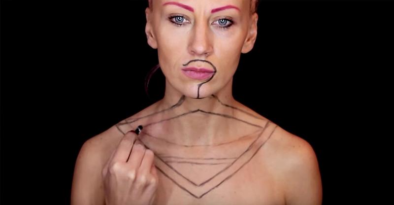 她在身體上畫了「一個衣架」,想不到2分鐘過後的畫面...網友差點嚇死了!