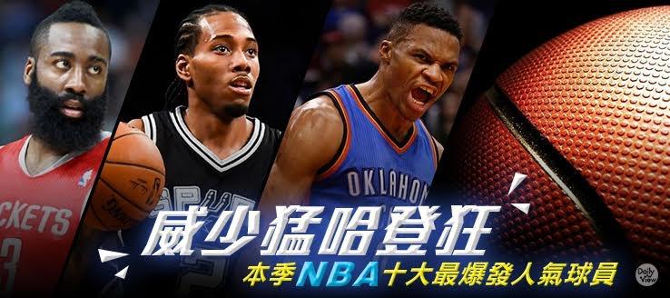 威少猛哈登狂!本季NBA十大最爆發人氣球員!