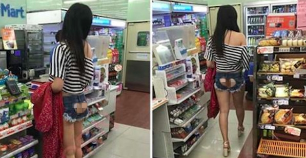 他在超商驚見這名女子穿「後空愛心褲」大血拼,沒想到當她一轉身「這一幕」讓網友笑到崩潰!