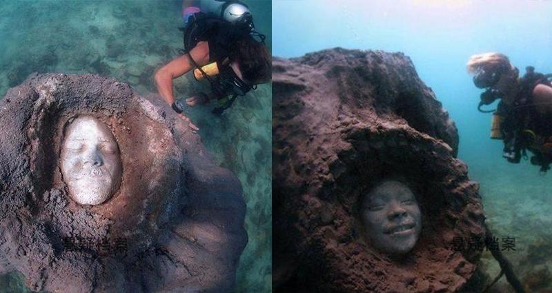 潛水員在海底發現「神秘人臉」,讓他當場嚇到腿抽筋,沒想到真相讓人圖片