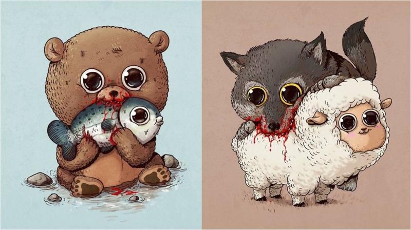 他畫出「大眼萌物捕食」的殘忍畫面,獵物表情怎麼那麼幸福....#2尼克不要吃茱蒂啊OAO!