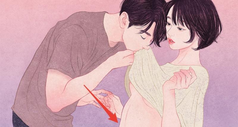 5張「絕對不能在上班上課時偷看」的成人戀愛情趣插畫,#4 原來要遮不遮才是最性感的!
