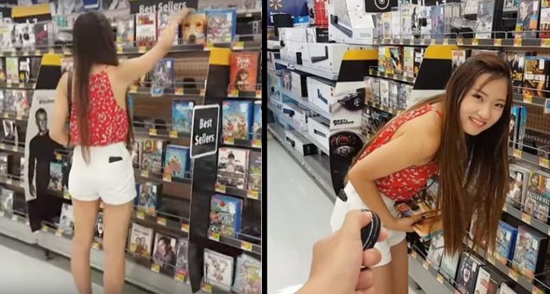 他故意在女友逛賣場時猛按「震動內褲」的按鈕,結果「女友3秒後的反應」讓他差點按耐不住!