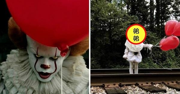 他把自己 3 歲弟弟 Cosplay 成恐怖電影《牠》裡面的裂嘴小丑,但網友看完全被萌化了:好Q