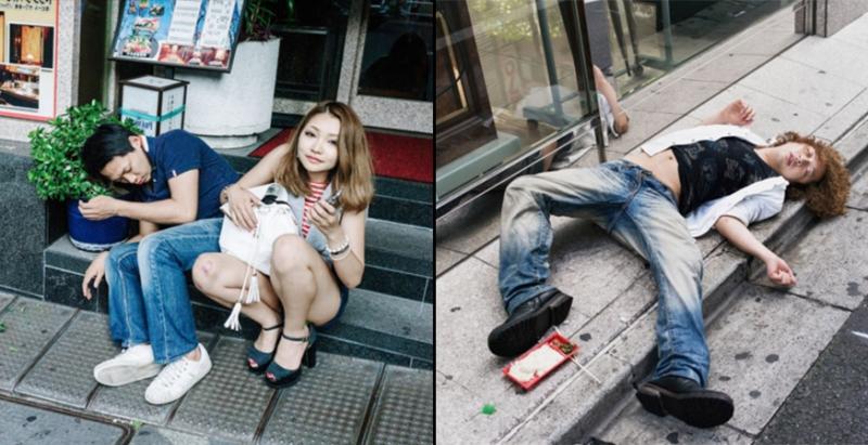 直擊日本上班族在「宿醉街頭的詭異醜態」#4 漂亮妹子兩腿大開倒臥在路旁差點被......